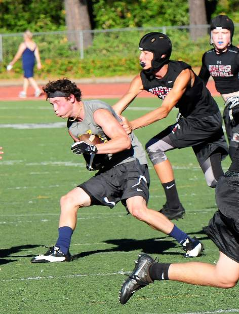 Nevada Union's Hayden Fay makes a catch during a 7-on-7 matchup with Bear River earlier this summer. Fay led the Miners in recieving yards and recieving touchdowns last season as a junior.