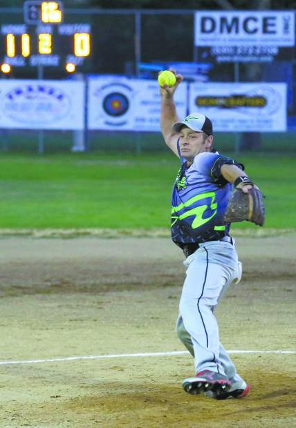 Allstar Automotive's Mike Milligan pitches during the Nevada County Fastpitch Softball League's American League Championship at Memorial Park Thursday evening.