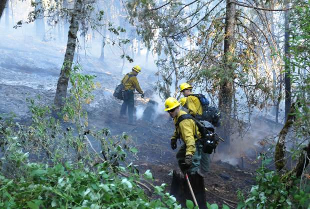 Firefighters cut fire lines and move hoses into the Grizzy Fire that burned nearly 10 acres of thick vegetation east of North Columbia in rural Nevada County Friday afternoon. A heavy air and ground attack kept the fire from spreading.