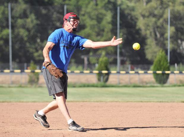 Jim Moule releases a pitch during the 50-68 year old Gold Country Senior Softball Association's All Star game Thursday at Western Gateway Park in Penn Valley.