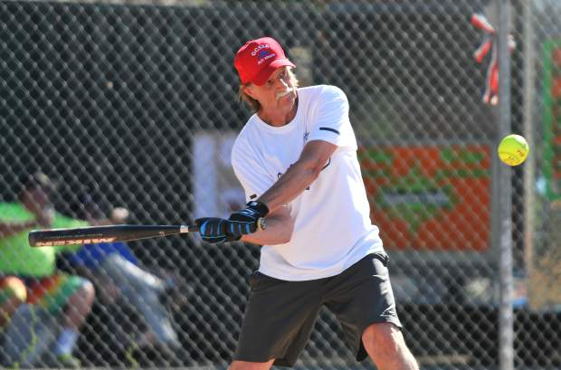 A Gold Country Senior Softball Association batter Chuck Woerner readies to make contact during Thursday's game.