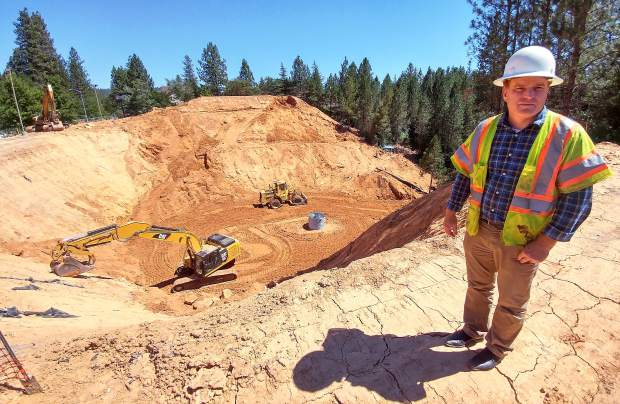 Grass Valley City Engineer/Public Works Director and Interim City Manager Tim Kiser stands on the edge of the Little Wolf Creek Sinkhole, where infill progress is currently underway. After inspecting the failed culvert that caused the sinhole to form, Kiser said that there is no evidence that points to what caused the culvert to fail.