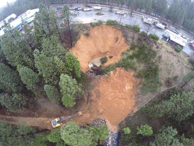Aerial view of the Grass Valley sinkhole taken January 12.
