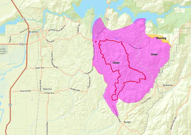Courtesy of Cal Fire |The Wall Fire evacuation area as of 3:30 p.m. Monday