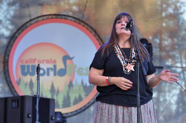 Local Nisenan Native American Shelly Covert, opened the 2017 California World Festival with native words and song, reassuring those in the crowd, that their language is not dead.