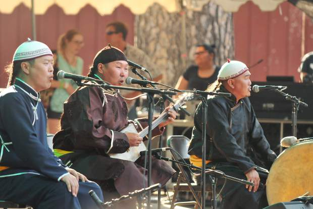 Members of the band Alash (from left) Ayan-ool Sam, Bady-Dorzhu Ondar, and Ayan Shirizhik take to the Meadow stage Friday evening with their unique sound of traditional throat singing. The trio hails from Tiva in Southern Siberia.