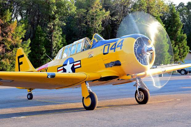 Jim Booth of Grass Valley provided added excitement and nostalgia with his World War Two vintage AT-6 during Saturday's 99th Reconnaissance Squadron 100-year celebration at the airport.