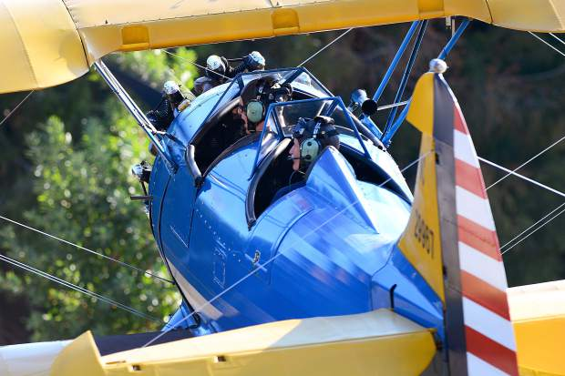 World War II vintage training and fighter aircraft provided a backdrop and flew demonstrations throughout the afternoon to include giving some enlisted personnel memorable rides during the 99th Reconnaissance Squadron 100th year celebration the Nevada County Airport on Saturday.