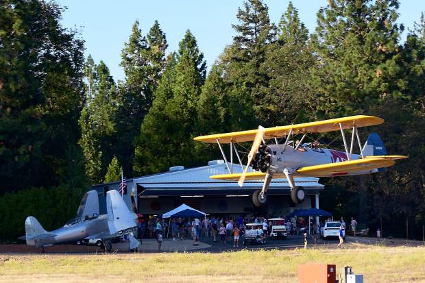 Brent Beck, a former U-2 pilot from Rocklin flew his immaculately restored Stearman Bi-plane during the 99th Reconnaissance Squadron 100-year celebration held at the Marlow's hangar at the airport