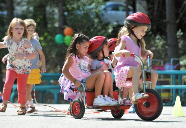 Transitional kindergarteners enjoy their recess time at Deer Creek Elementary School during the first day of class Wednesday morning.