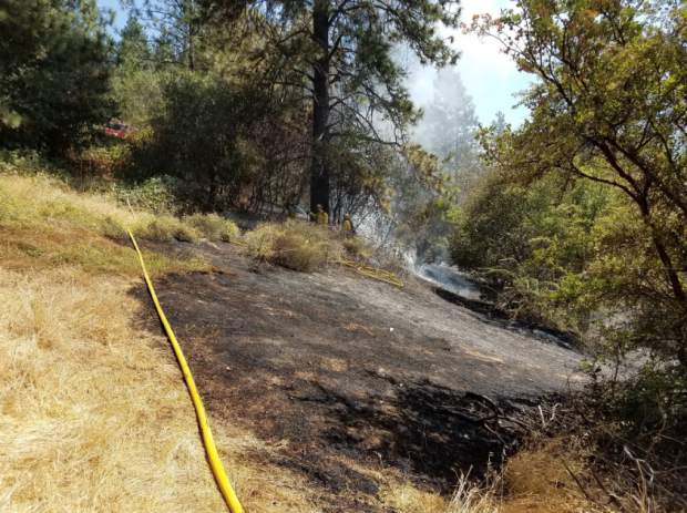 According to Cal Fire, a small blaze in Colfax was caused by a local resident mowing in the area, and recommended that residents do their mowing before 10 a.m., when the humidity is higher.