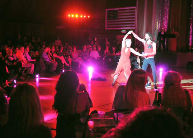 Relationship specialist Sonika Tinker takes the stage with professional dancer Martin Bullo during their first-round dance.