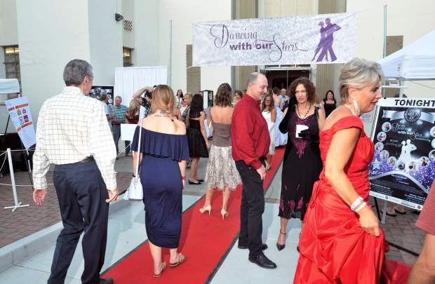 Folks enter the Veterans Memorial Auditorium for the 5th annual Dancing With Our Stars charity competition.