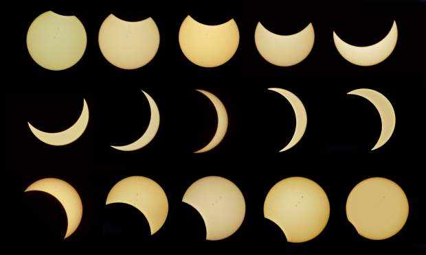 The full path of the partial solar eclipse as captured by photographer Tim O'Brien in Alta, near the American River Canyon, Monday.