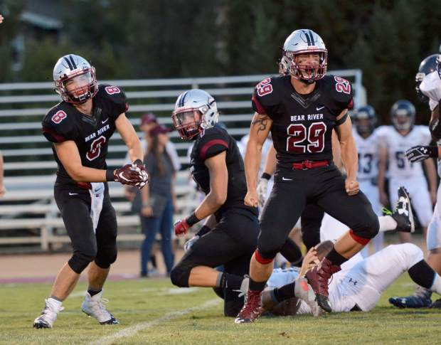 Bear River's Austin Baze (29) and Kyle Wooner (8) celebrate during a game against Union Mine last season.