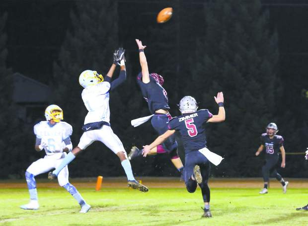 Bear River's Luke Baggett defends the pass during a game against Center at J. David Ramsey Stadium Friday night.