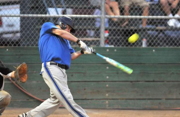 Jeromy Hoskins connects for an RBI double during the Bulldogs, 8-3, win over Gold Country Automotive Thursday evening at Memorial Park.