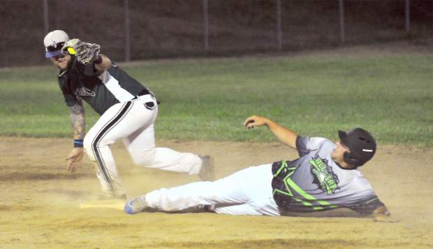 All Star Automotive's Kyler Caldwell slides safely into second base for a double during a Nevada County Men's Fastpitch American League playoff game. Caldwell went 1-for-1 with a double, a walk and a run scored in the win.