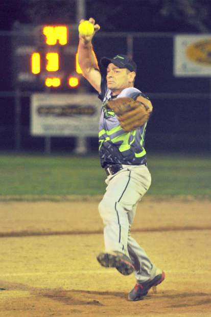 All Star Automotive's Mike Milligan throws during a Nevada County Men's Fastpitch American League playoff game against the Oroville Dirtbags Thursday. Milligan notched 13 strikeouts as the Bulldogs topped the Dirtbags and advanced to the title game.