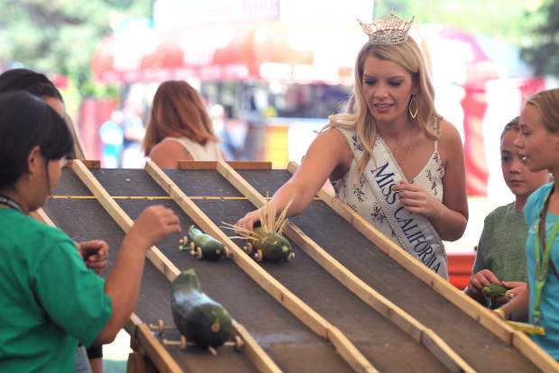Miss California herself, Penn Valley's Jillian Smith, was on hand to start some of the Seafaring Squash Mobile Races held under the Special Events Tent Friday afternoon.