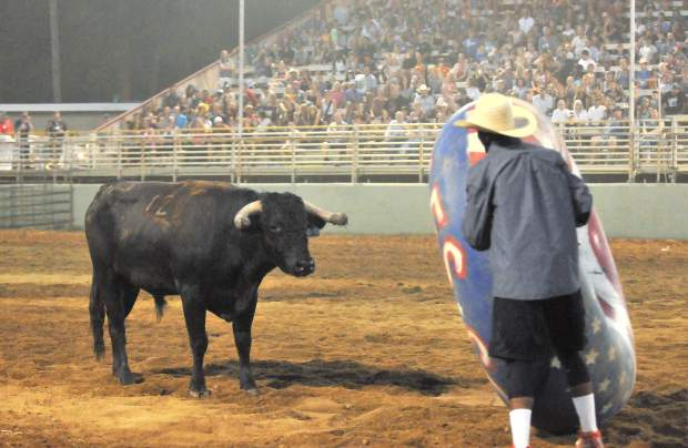 Man vs. beast showdowns were on full display at the Nevada County Fair's Flying U Extreme Rodeo Wednesday and Thursday night, which featured the flying cowboys motorcycle stunt show to close out the evening.