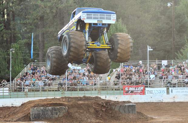 The monster truck Obsessed takes to the sky above the Nevada County Fairgrounds arena for Friday and Saturday's show, which also featured modified and stock tuff truck competitions.