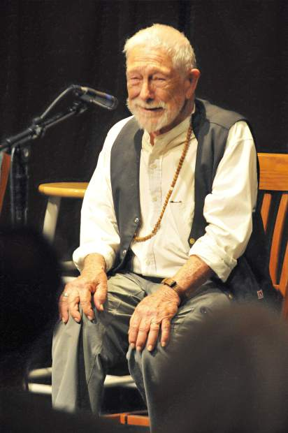 Gary Snyder laughs with the crowd during Saturday's appearance at The Open Book in Grass Valley.