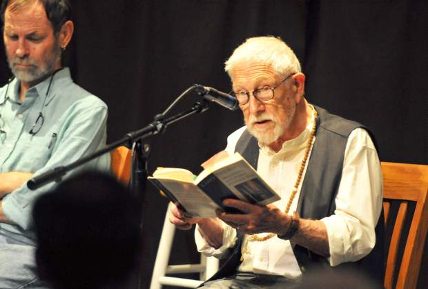 Local legend and Pulitzer Prize winning poet Gary Snyder made a rare appearance at The Open Book in Grass Valley Saturday where he and Seattle University professor Jason Wirth gave readings from the new book 'Mountains, Rivers, and the Great Earth: Reading Gary Snyder and Dogen in an Age of Ecological Crisis'.