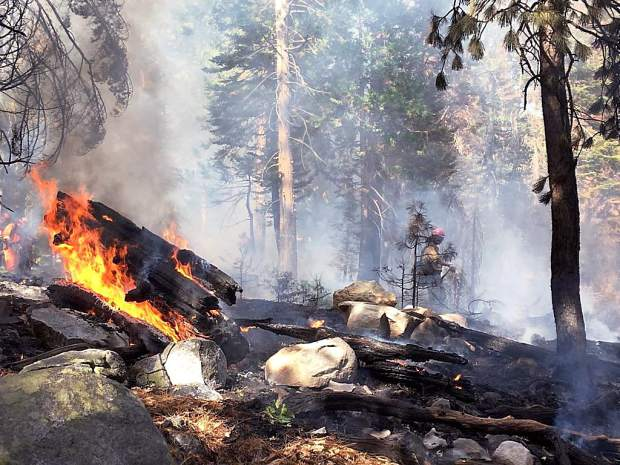 A lightning strike off of Rucker Lake Road was likely the cause of a 1/4 acre fire that burned heavy timber on the side of a hill near Lake Spaulding Wednesday afternoon. The call came in at 3:09 p.m. with reports of the fire burning at a moderate rate of speed. By 4:45 p.m. firefighters had the forward progress stopped and had begun to place hose lays around the fire. The fire, named the Meadow Fire, originated about 1/4 mile off of Rucker Lake Road, just north of Fuller Lake. The Washington Ridge hand crew was on the scene along with two Cal Fire engines, area water tenders, and a helitack crew.