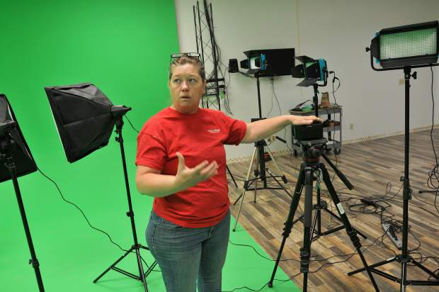 Nevada County TV Executive Director Ramona Howard, stands in the green screen cyclorama of the new Nevada County TV studio off of New Mowhawk lane in Nevada City.