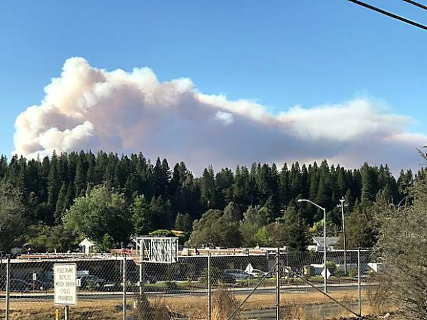Smoke pours across the sky from the Pleasant Fire near North San Juan. Photo taken from where the fire originated behind Peterson's Corner.