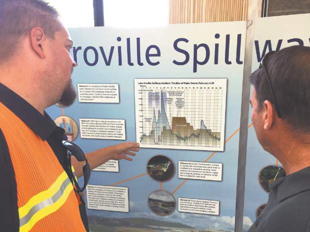 Department of Water Resources Engineer Matt Murray talks with Nevada County videographer Juan Browne about the timeline of the Oroville Spillway Incident.