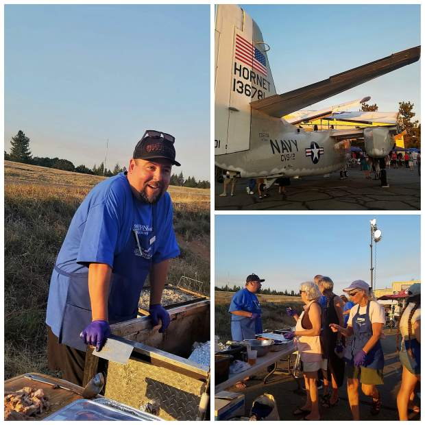 John Candelaria, Executive Director of the Food Bank of Nevada County, serving food during the recent Nevada County Airshow.