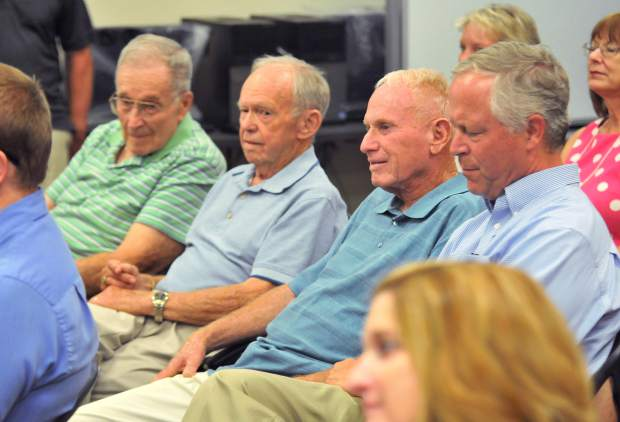 Former Nevada County Board of Education superintendents (from left) Jerome Hund, George Bryant, Skip Houser, and Terry McAteer were all in tow during Tuesday's night's changing of the guard.