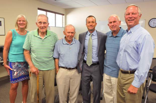 Former Nevada County Board of Education superintendents (from left) Holly Hermansen, Jerome Hund, George Bryant, new Superintendent Scott Lay, Skip Houser, and Terry McAteer pose for a photo during Tuesday's meeting.