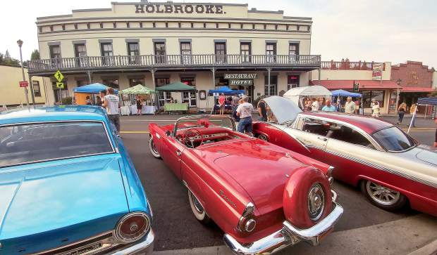 Classic cars of all colors lined Main Street across from the historic Holbrooke Hotel in downtown Grass Valley Thursday evening.