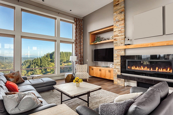Furnished living Room with view on sunny afternoonFurnished living room in upscale new home