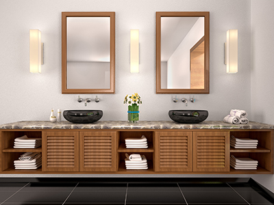 3d illustration of double sink in the bathroom Mediterranean-style