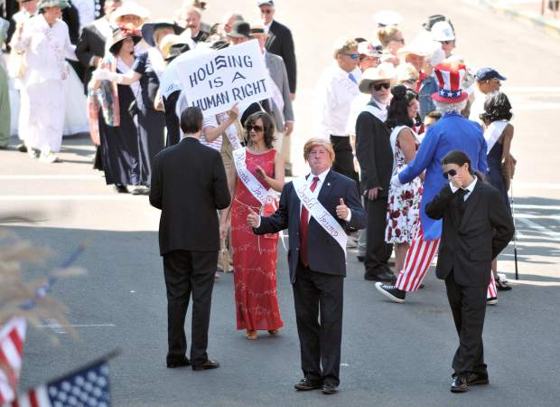 Donald Trump, played by Nevada City's Rick Ewald, joins The Famous Marching Presidents on Broad Street during the annual Constitution Day Parade.