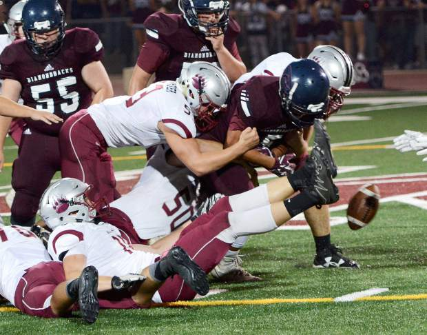 Bear River's defense forces a fumble during a game against Union Mine Friday night. The Bruins beat the Diamondbacks 20-0. The Bear River defense has allowed just seven points through the first two games of the season.
