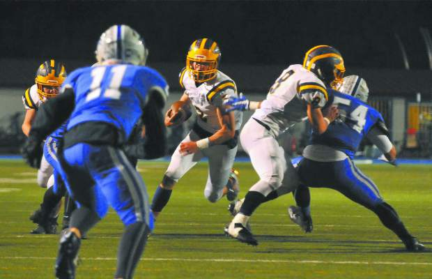 Nevada Union's Dawson Fay (3) finished with 212 rush yards and two touchdowns.