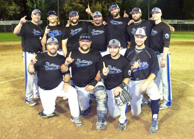 The Bulldogs reclaimed their spot at the top of Nevada County Fastpitch Softball by winning the American League Championship Game, 7-2, over 2016 champs All Star Automotive. Back row from left: Jeromy Hoskins, Kody Kencke, Bobby Alvara, Chris Friedman, Justin Deme, Robbie Porter, Jarett Roenicke. Front row from left: Jeff Nye, Josh Van Matre, Russell Brackett and Tyler Sharp.