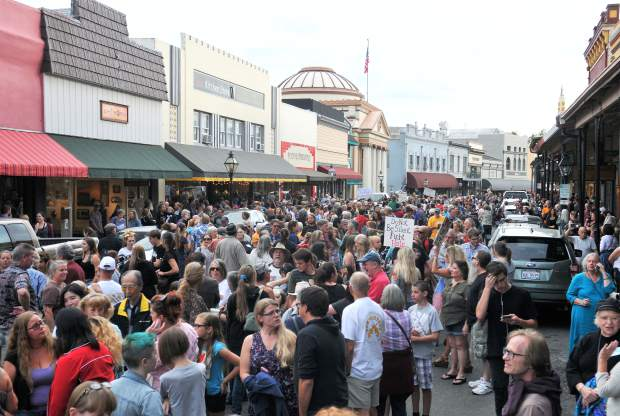 Thousands of people filled Mill Street in downtown Grass Valley during Friday's love walk, or march for Imani.