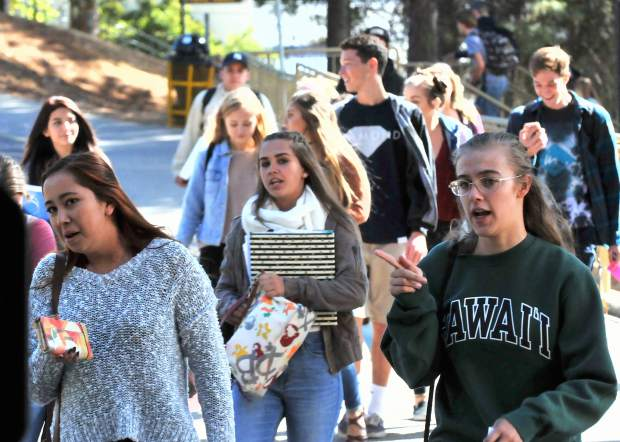 Nevada Union High School students head for the Don Baggett Theatre for Tuesday morning's presentation by the California Secretary of State Alex Padilla.