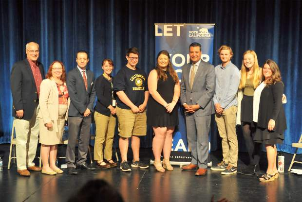 Students and school staff pose with California Secretary of State Alex Padilla following his presentation and question and answer with Nevada Union High School staff.