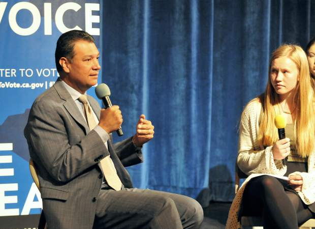 California Secretary of State Alex Padilla participates in a question and answer session with Nevada Union High School's Senior Class President Regan Heppe following Padilla's pitch about pre-registering to vote at Nevada Union's Don Baggett Theatre. Heppe asked Padilla questions generated from students and included an inquiry about his response to President Donald Trump regarding DACA.