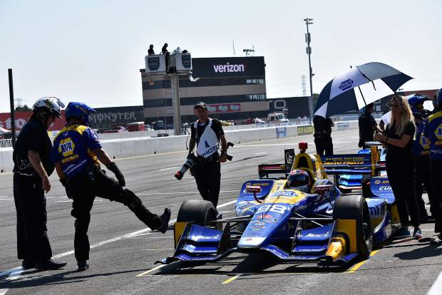 Nevada County's Alexander Rossi at a pit stop during the Sonoma IndyCar race last weekend.