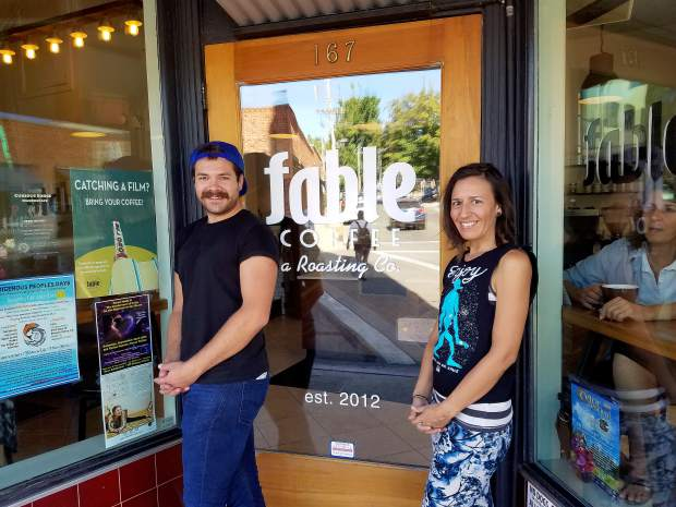 Roderick Stickle and Heidi Edwards, baristas at Fable Coffee in Downtown Grass Valley Tuesday.