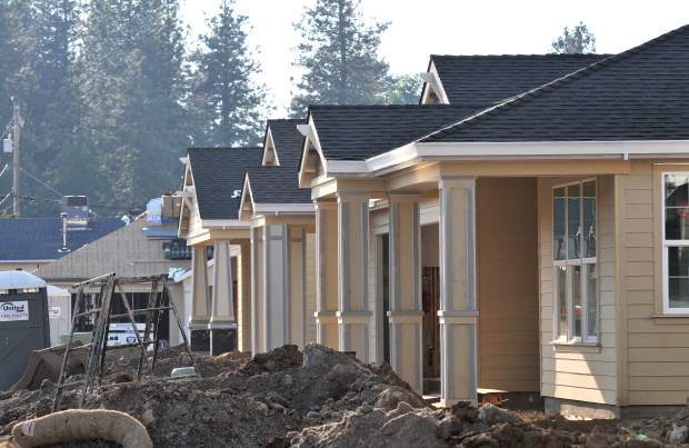 Homes lined up along Ridge Road in Grass Valley are currently under construction. Most of these homes have already been sold.