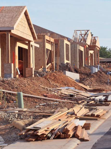 An entire neighborhood under construction provides for an uncommon occurrence in Grass Valley where homes begin to take shape off of Ridge Road. Many of the homes have already been purchased.